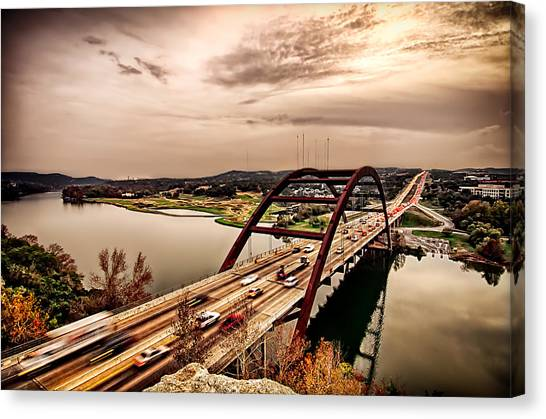 Pennybacker Bridge Sunset Canvas Print by John Maffei