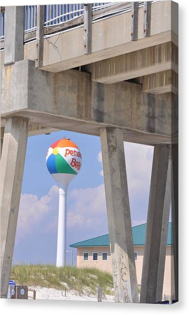 Pensacola Beach Ball And Pier Canvas Print