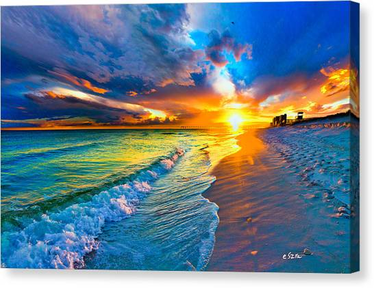 Pensacola Florida-beach Waves-sun Burst Shoreline Canvas Print