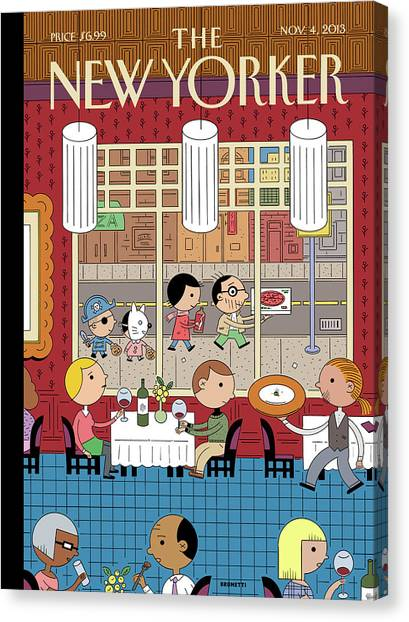 Fast Food Canvas Print - People Enjoying Dinner In The City by Ivan Brunetti