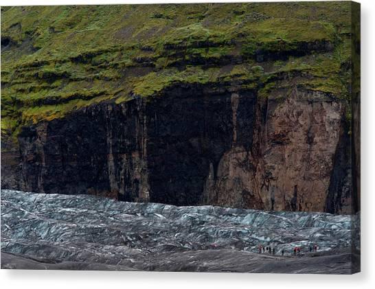 Vatnajokull Glacier Canvas Print - People Hiking On Vatnajokull Glacier by Arthur Meyerson
