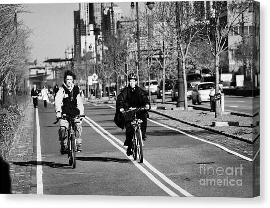 Joe Dimaggio Canvas Print - people mountain bikes exercising on bikeway next to West Side Highway new york by Joe Fox