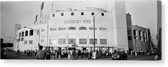 People Outside A Baseball Park, Old Canvas Print
