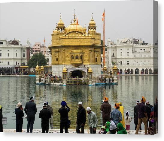 Golden Temple Canvas Print - People Photographing The Golden Temple by Panoramic Images
