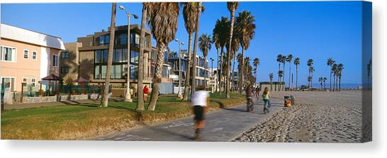 Venice Beach Canvas Print - People Riding Bicycles Near A Beach by Panoramic Images