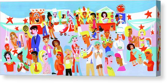People Shopping And Eating In Vibrant Canvas Print