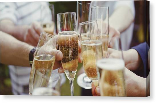 People Toasting With Champagne Flute Canvas Print by Viktoria Rodriguez / Eyeem