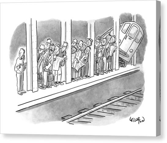 Train Canvas Print - People Waiting For A Subway Peek Onto The Tracks by Robert Leighton