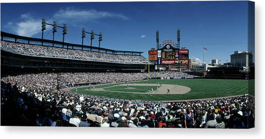 Detroit Tigers Canvas Print - People Watching Baseball Match by Panoramic Images