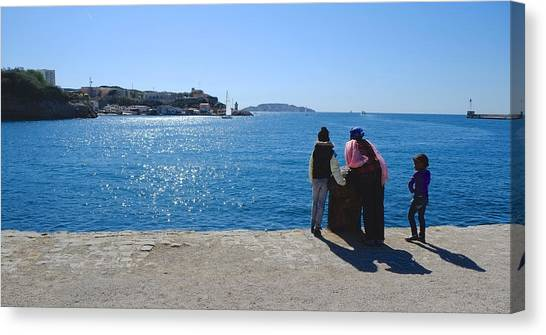 Family Watching The Sea  Canvas Print