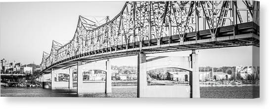 American Steel Canvas Print - Peoria Bridge Panoramic Black And White Picture by Paul Velgos