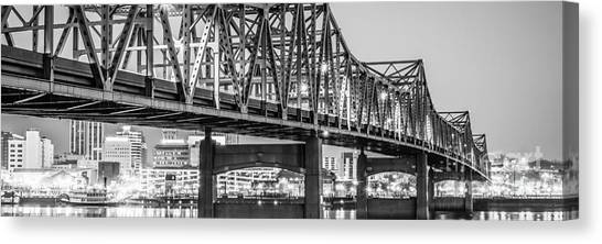 American Steel Canvas Print - Peoria Il Panorama Black And White Picture by Paul Velgos