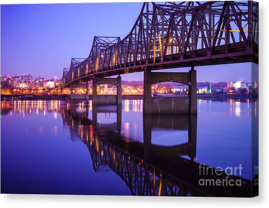 American Steel Canvas Print - Peoria Illinois Bridge At Night - Murray Baker Bridge by Paul Velgos
