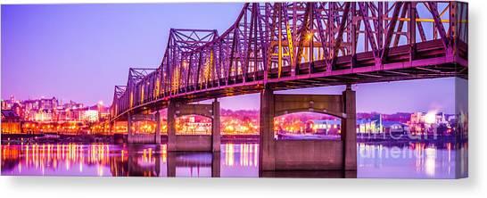 American Steel Canvas Print - Peoria Illinois Bridge Panorama Photo by Paul Velgos