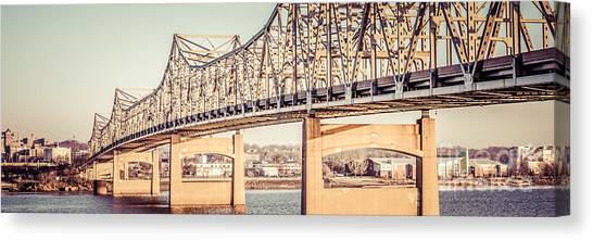 American Steel Canvas Print - Peoria Illinois Bridge Retro Panorama Photo by Paul Velgos