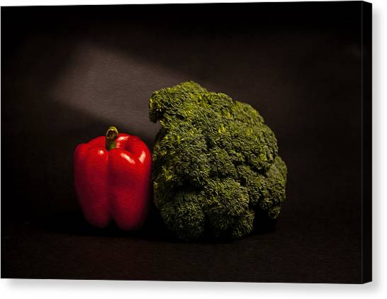 Broccoli Canvas Print - Pepper And Broccoli by Peter Tellone