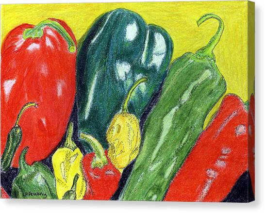 Canvas Print featuring the painting Peppers by Linda Feinberg