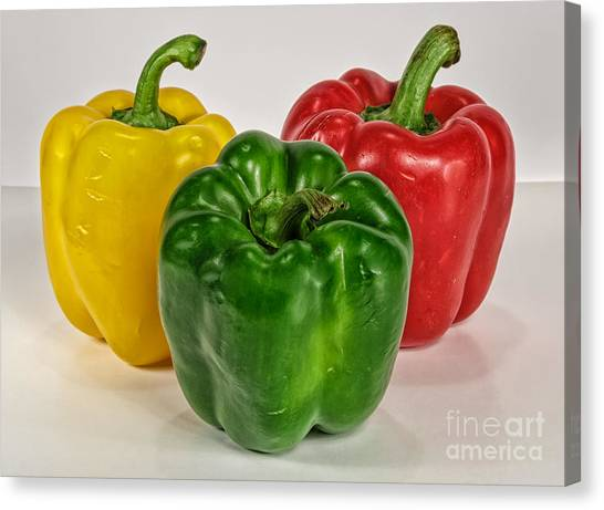 Peppers Together Canvas Print by Mitch Johanson