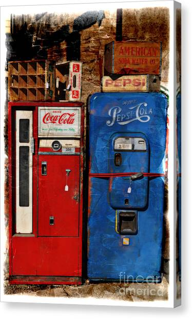 Pepsi Canvas Print - Pepsi Vs Coke by Mary Machare