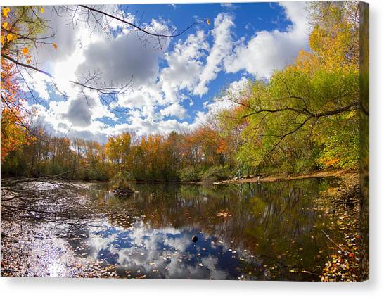 Pequotsepos Duck Pond Reflection   Canvas Print