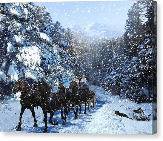 Percheron Team In Snow Canvas Print by Ric Soulen