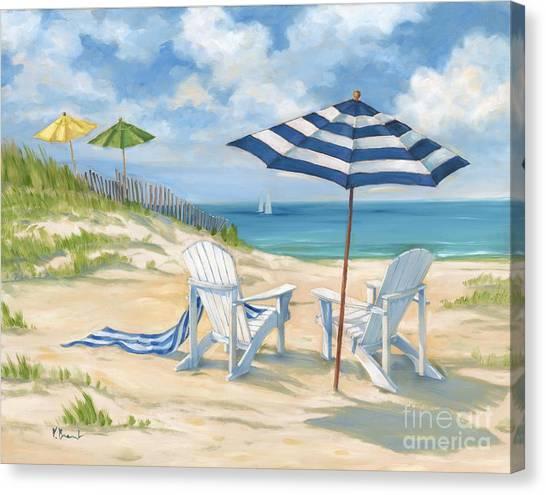 Adirondack Chair Canvas Print - Perfect Beach Blue  by Paul Brent