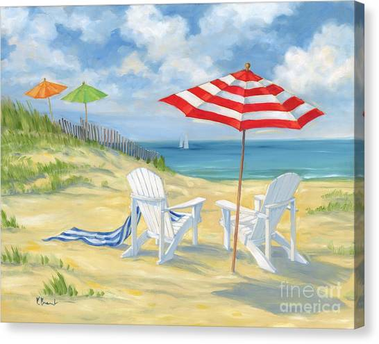 Adirondack Chair Canvas Print - Perfect Beach by Paul Brent