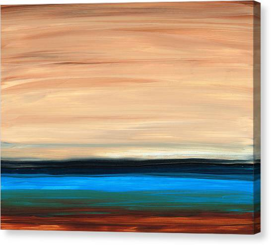 Soothing Canvas Print - Perfect Calm - Abstract Earth Tone Landscape Blue by Sharon Cummings