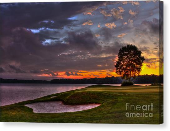 Jack Nicklaus Canvas Print - Perfect Golf Sunset In Reynolds Plantation by Reid Callaway