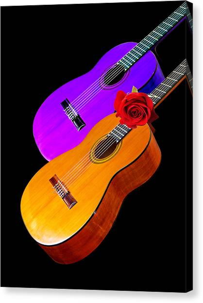 Classical Guitars Canvas Print - Perfect Harmony - Acoustic Guitars by Gill Billington