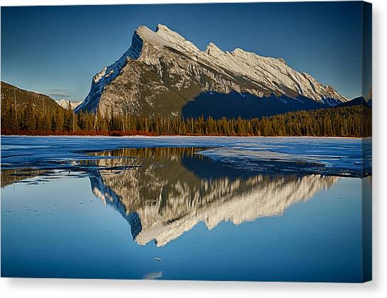 Perfect Reflection Of Rundle Mountain Canvas Print