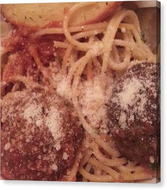 Spaghetti Canvas Print - #perfectdinner #icestorm #winterstorm by Alyson Schwartz