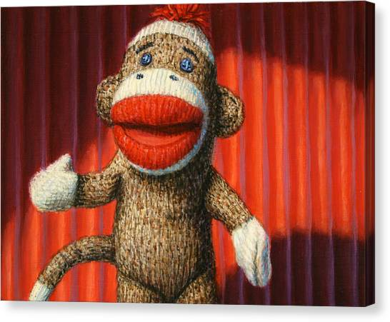 Monkeys Canvas Print - Performing Sock Monkey by James W Johnson