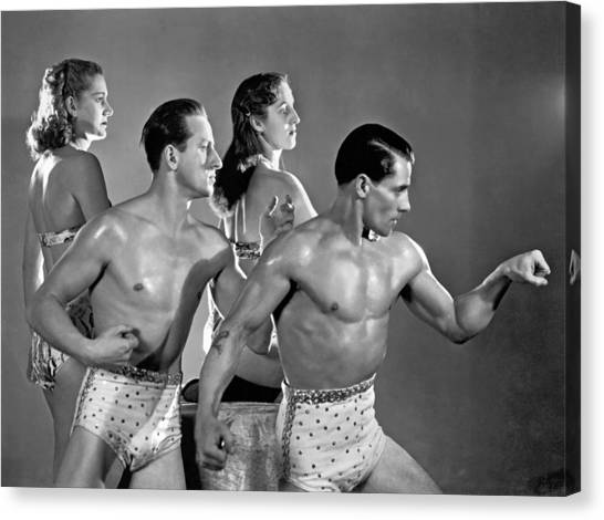 Bare Shoulder Canvas Print - Performing Troupe Strike Pose by Underwood Archives