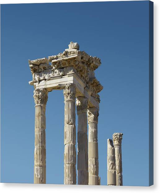 Hellenistic Art Canvas Print - Pergamon Temple Of Trajan by David Parker
