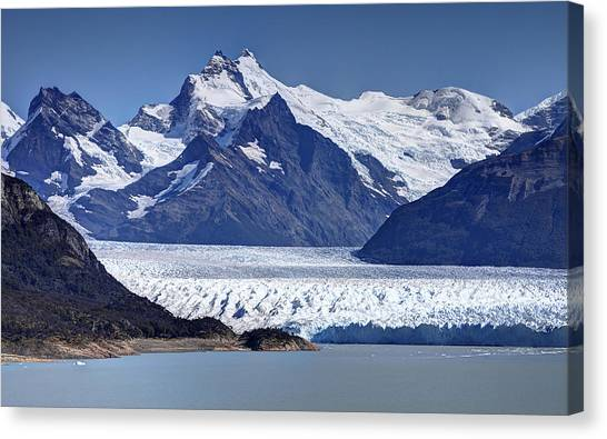 Perito Moreno Glacier - Snow Top Mountains Canvas Print