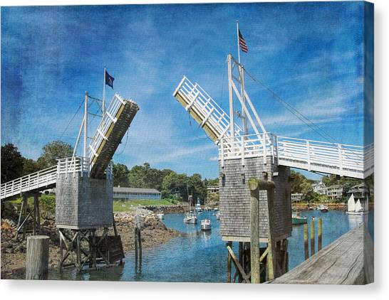 Perkins Cove Drawbridge Textured Canvas Print