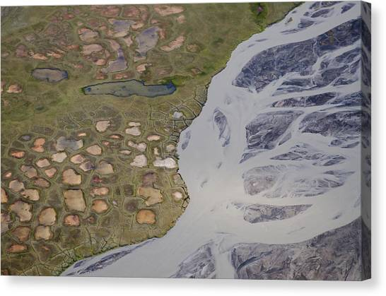 Permafrost Polygons And Braided River Canvas Print