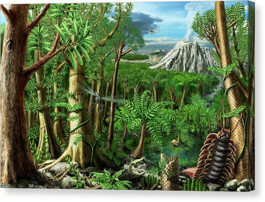 Millipedes Canvas Print - Permian Landscape by Stefan Schiessl/science Photo Library