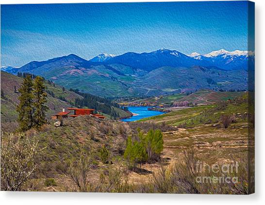 Canvas Print featuring the painting Perrygin Lake In The Methow Valley Landscape Art by Omaste Witkowski