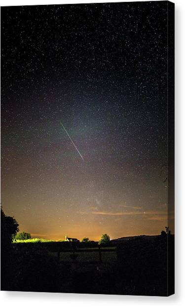 Shooting Stars Canvas Print - Perseid Meteor Trail 2015 by Chris Madeley