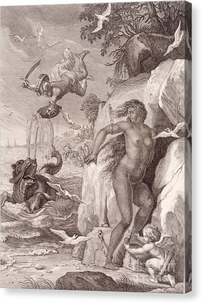 Mythological Creatures Canvas Print - Perseus Delivers Andromeda From The Sea Monster by Bernard Picart
