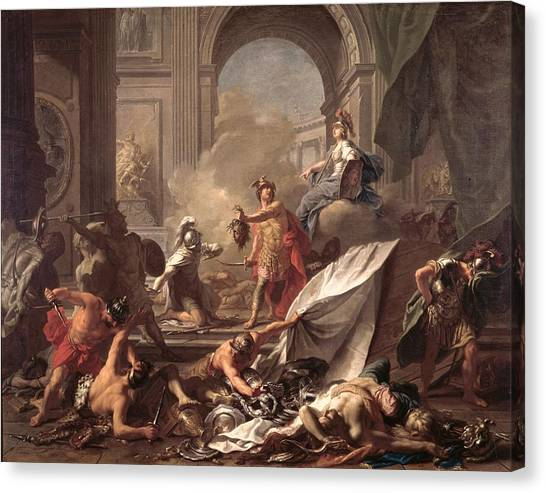 Gorgons Canvas Print - Perseus, Under The Protection Of Minerva, Turns Phineus To Stone By Brandishing The Head Of Medusa by Jean-Marc Nattier