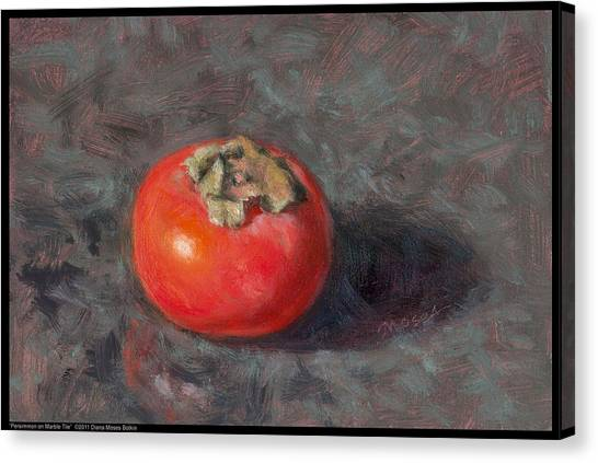 Persimmon On Marble Tile Canvas Print