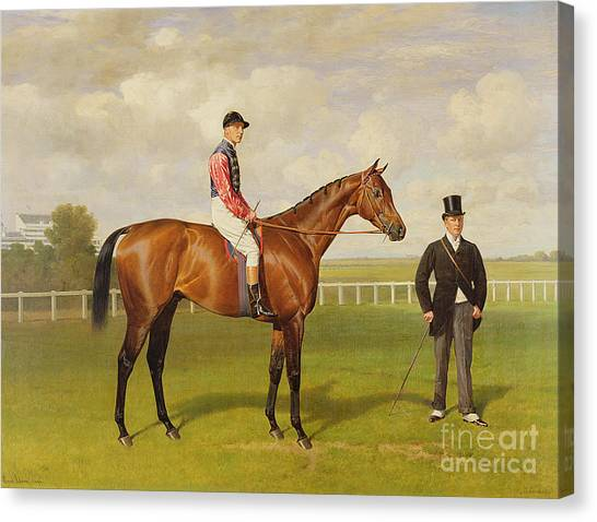 Race Horses Canvas Print - Persimmon Winner Of The 1896 Derby by Emil Adam
