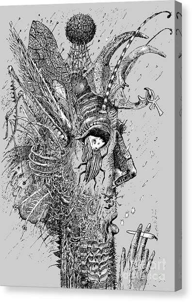 Person Insect. Smoker. Surrealistic Canvas Print by Alex74