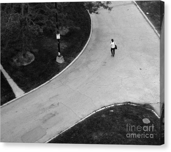 Person On Walkway Canvas Print