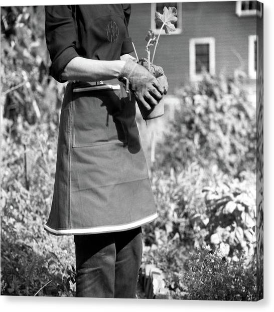 Person Wearing A Gardening Apron Canvas Print