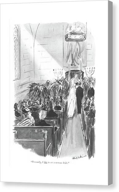 Personally, I Like To See A Nervous Bride Canvas Print by Helen E. Hokinson