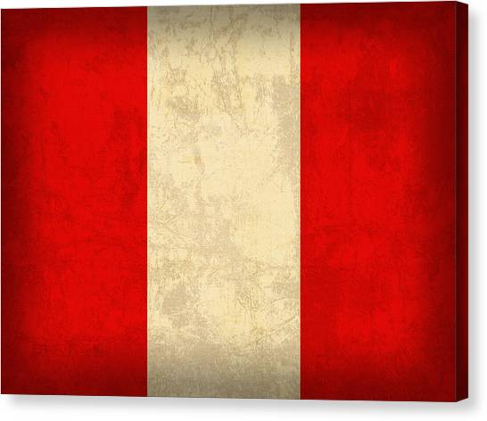 Peruvian Canvas Print - Peru Flag Vintage Distressed Finish by Design Turnpike